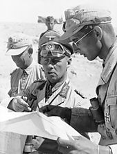 1942 1st Battle of El Alamein - Field Marshal Erwin Rommel, with his aides during the desert campaign.