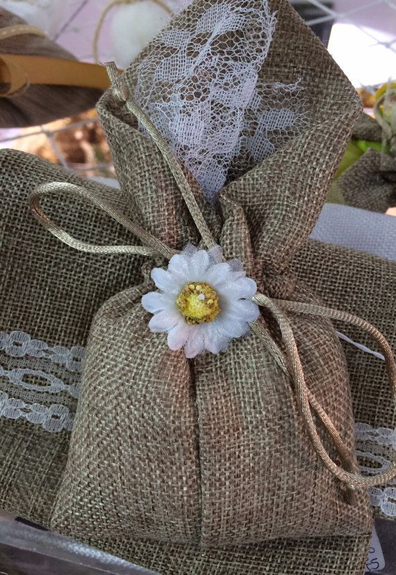 50 handmade burlap wedding favor bags filled with lavender or almond candies. Ships everywhere.