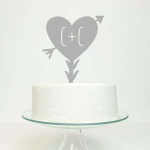 Personalised Large Heart And Arrow Wedding Cake Topper - cake toppers & decorations