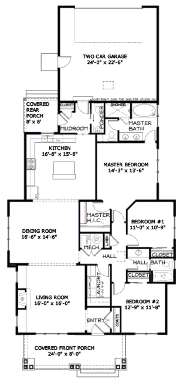 Craftsman style bungalow open concept almost shotgun for Single story open concept floor plans