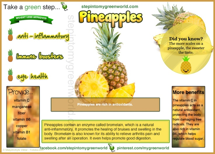 Do YOU eat Pineapple?  Pineapple is a tropical plant with edible multiple fruits. It is consumed fresh, juiced and cooked. Its health benefits are many.  FOR THE BENEFITS OF DRINKING PINEAPPLE JUICE READ OUR ARTICLE:  http://www.stepintomygreenworld.com/greenliving/health/healing-benefits-of-pineapple-juice/  ✒ Share | Like | Re-pin | Comment