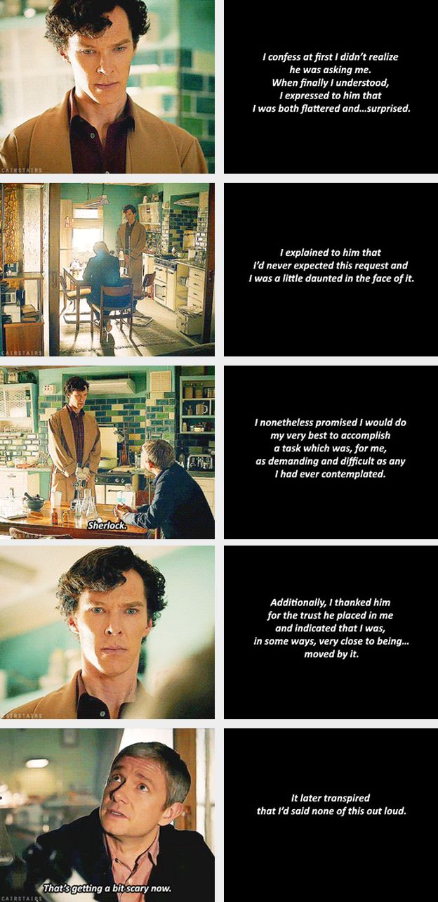 Sherlock: Reaction, or lack thereof, to being asked to be John's best man. When this happened I could not contain myself I thought it was so adorable