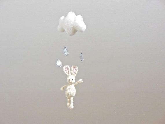Bunny Cloud Baby Mobile Cloud Raindrop Hanging by SweetBauerKnits