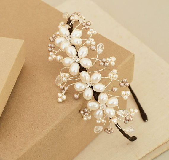 Louise Pearl Side Tiara Floral Mushroom Oyster Pearls Clear Crystal Headdress Bridal Headband Bridesmaid Wedding Tiara Hair Accessories UK