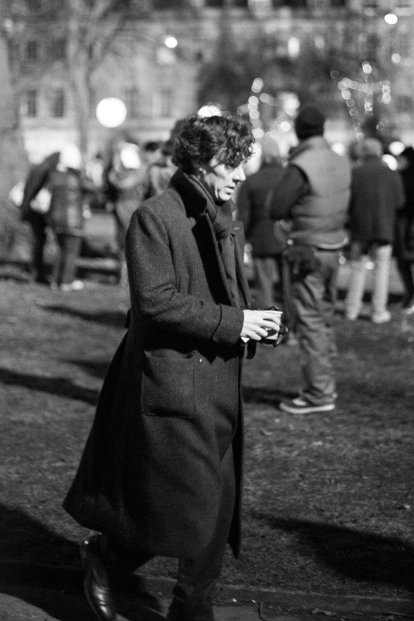 Benedict Cumberbatch films new Sherlock in Portland Square, Bristol UK