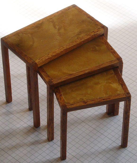 Nesting tables, mahogany and ashwood veneer