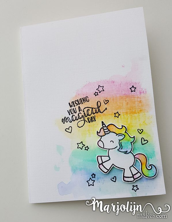 Rainbow Unicorn Card By MarjolijnMakes Watercolour Rainbows And Avery Elles Be A Stamp So Cute