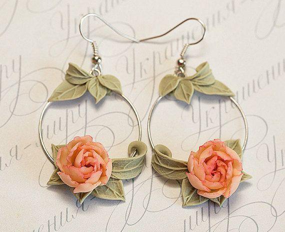 Peach peony Earrings. Peach flowers earrings. by JewelleryForWorld