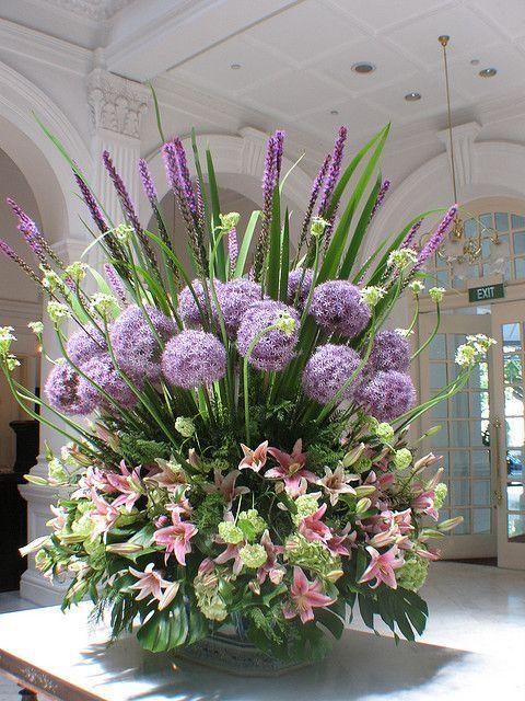 Flower Arrangement inside Lobby of Raffles   Hotel by jeffsheehan 2010, via Flickr