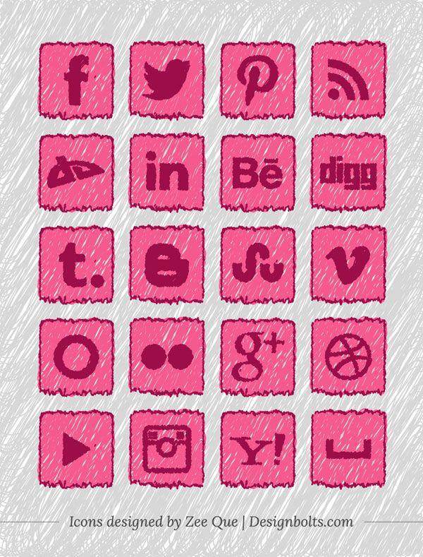 Handmade social media icons 01 20 Free Handmade Social Media Icons Set For Children & School Websites