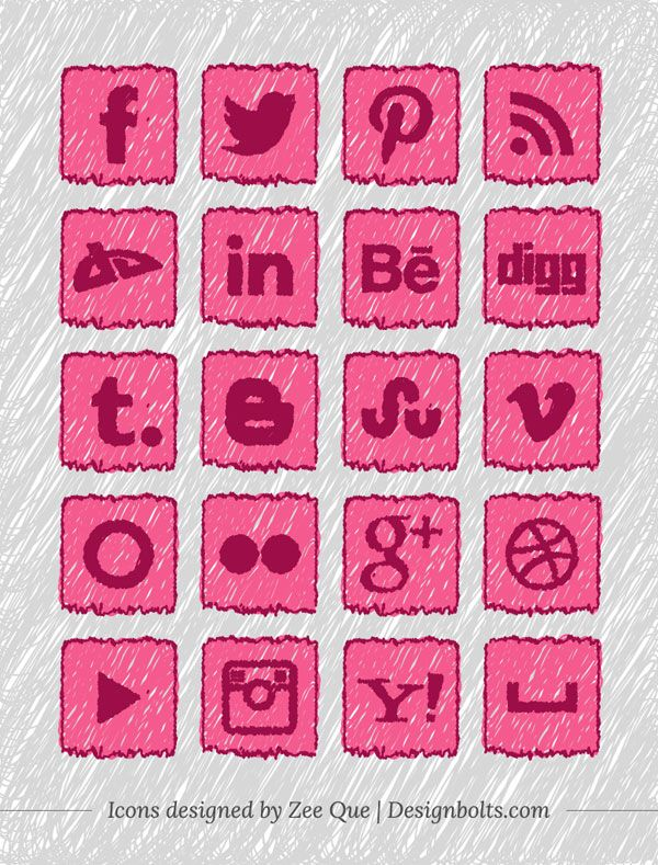 Handmade social media icons 01 20 Free Handmade Social Media Icons Set For Children & School Websites
