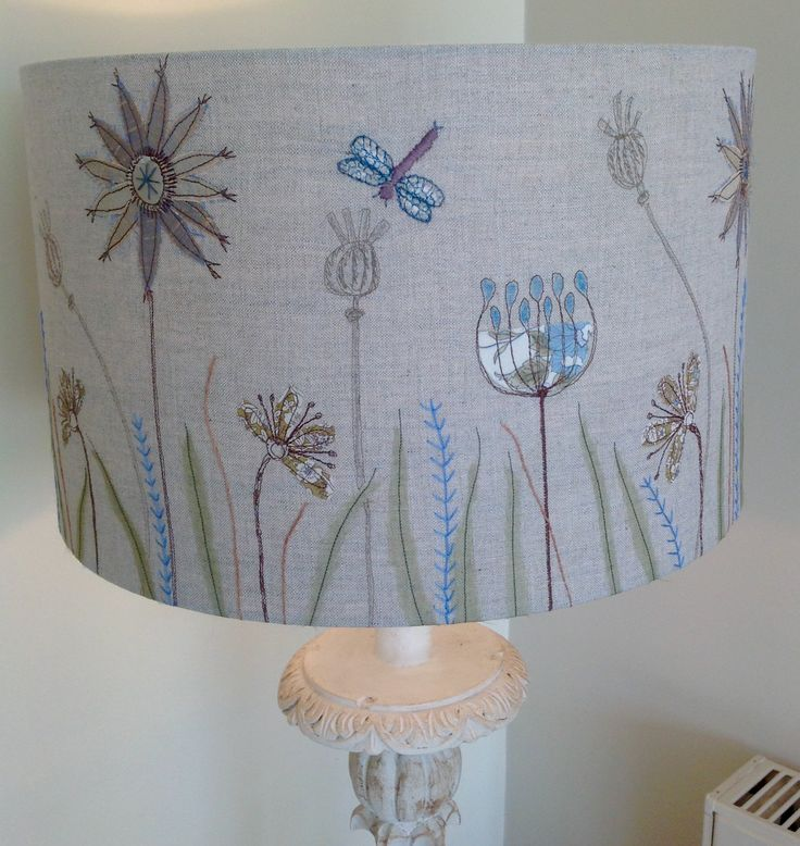 Machine embroidered seed head linen lampshade