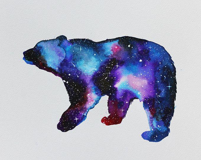 Impresión de Giclee de acuarela de oso galaxia