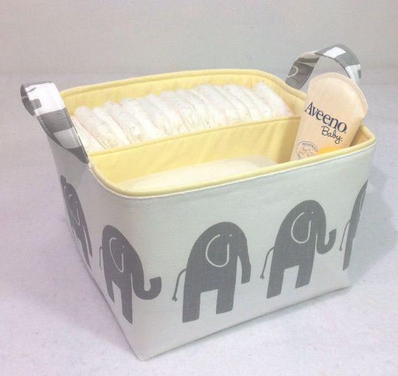 """LG Windel Caddy 10 """"x 10"""" x 7 """"Stoff Bin, Stoff Speicher Organizer, Korb, grau Elefant auf weiß mit hellen gelben Futter"""