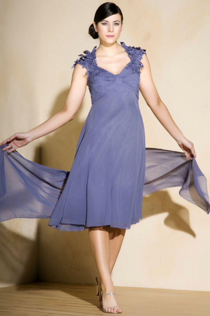 Blue Chiffon A Line Knee Length Mother Of The Bride
