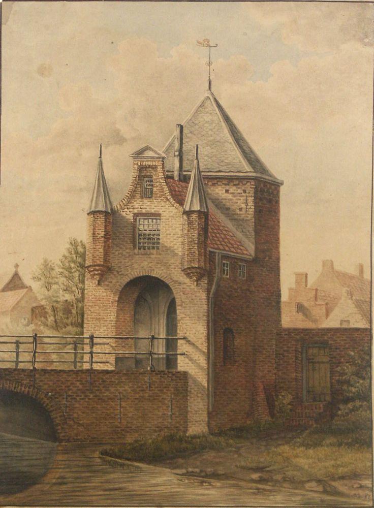 Aquarel voorstellende de Goilberdingerpoort te Culemborg, vervaardigd door P.P. van Es, 1859