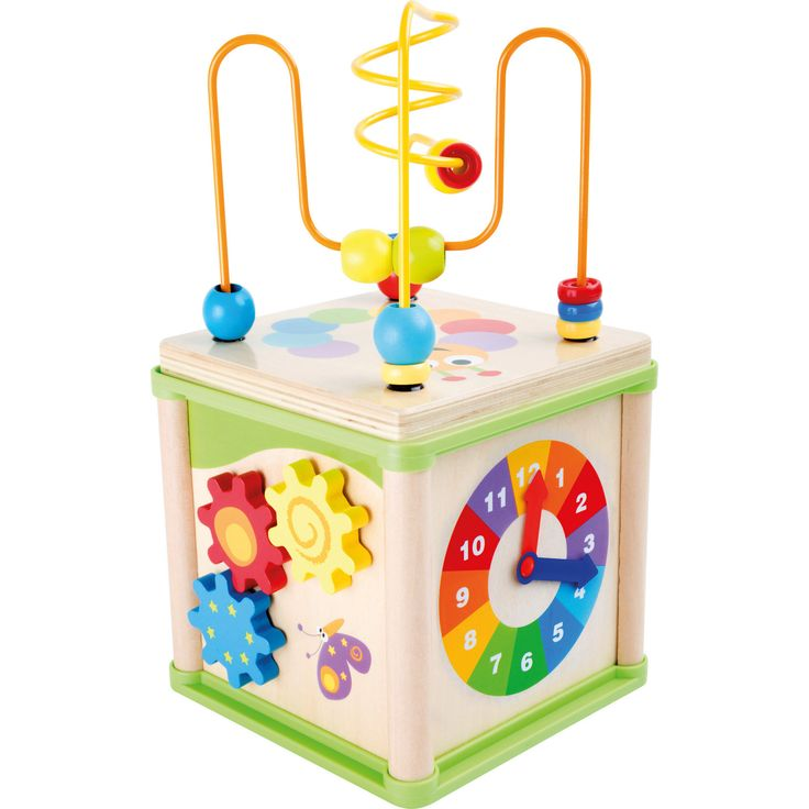 """Ideal pentru spațiile de joacă mici, """"Cub pentru activități diverse"""" dezvoltă abilitățile motorii ale copilului. Conceput cu o buclă de formare a abilităților motorii care poate fi scoasă, roți dințate, un ceas și un joc de puzzle."""