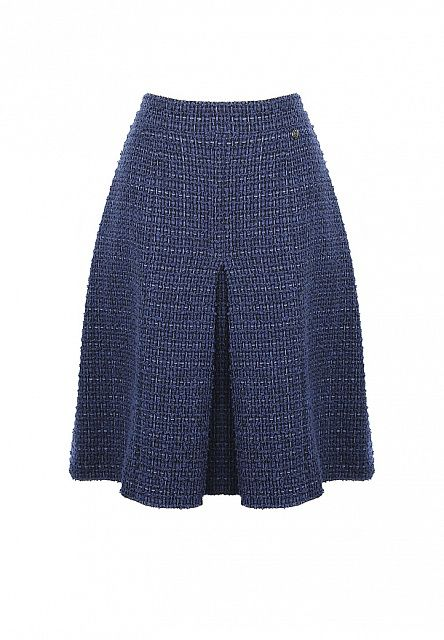 Темно-синяя твидовая юбка Chanel в складку