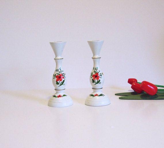Sueco vintage portavelas de madera flores  // por tiendanordica