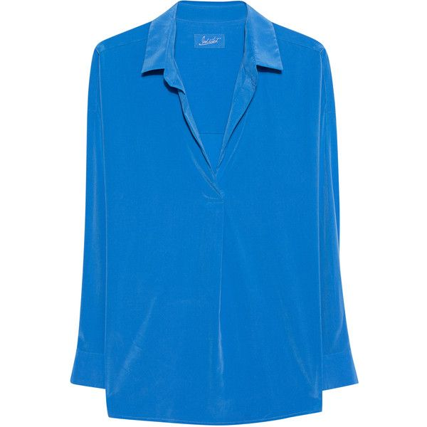 JADICTED Juli Royal Blue // Silk blouse ($285) ❤ liked on Polyvore featuring tops, blouses, round collar shirt, blue silk shirt, royal blue collared shirt, royal blue top and blue shirt