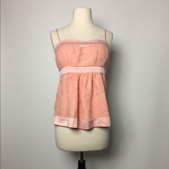 🎀CLEARANCE🎀 BCBGeneration Top SALE Pretty BCBGeneration Peach 59%Silk/41%Rayon Top. Beautiful Texture. Removable Straps. Minor Thread Pull On Back Hem Area. Otherwise, Good Condition. BCBGeneration Tops