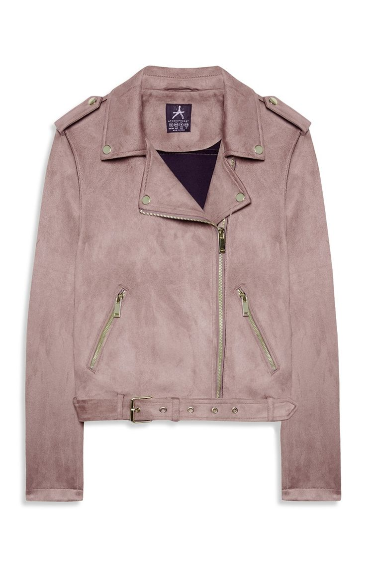 Blush Suedette Biker Jacket