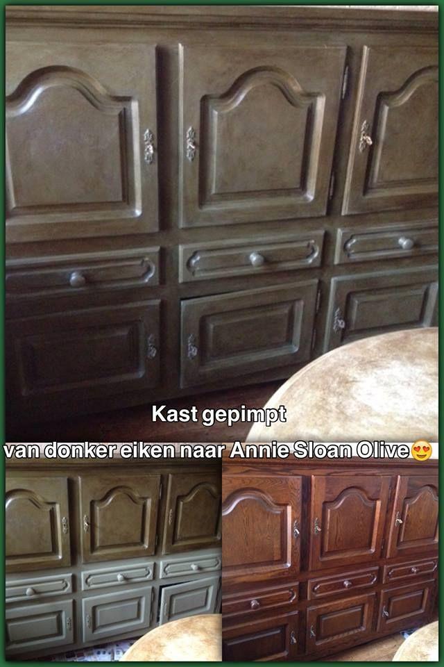En de foto van de kast in de woonkamer Annie Sloan krijtverf Olive,zo'n mooie kleur. Van donker eiken naar deze mooie kast Gr Shiel