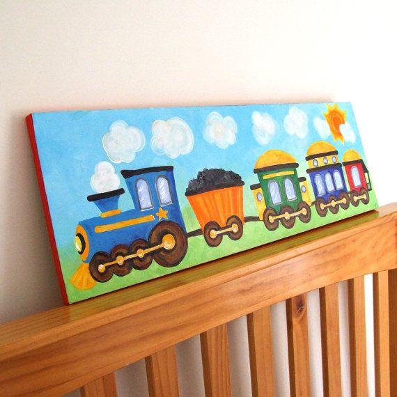 Train Panel Acrylic Canvas Painting. Boys love those locomotives!  Nurseries  Pinterest