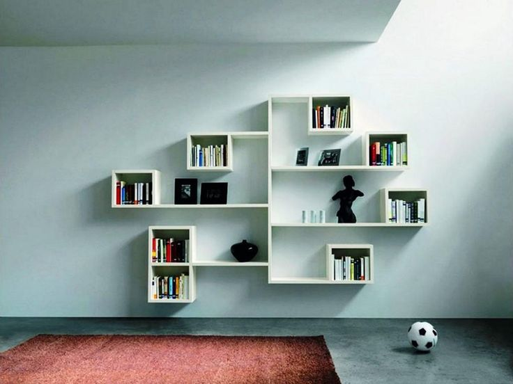 awesome wall mounted cubby storage contemporary bedroom | Charming 25 Modern Shelves Design Ideas For Living Room ...