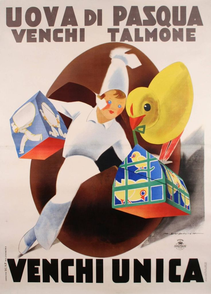 Marcello Dudovich - Italian Stone Lithograph 'Easter Egg' Poster by Marcello…