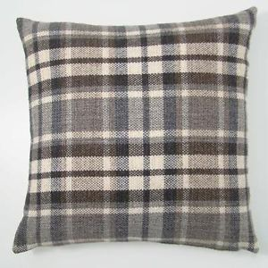 "Luxury Scottish Tartan Checked Black / Grey Beige 17"" x 17"" Woven Cushion Covers | eBay"