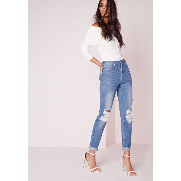 Missguided Riot High Rise Ripped Knee Slim Leg Jeans Stonewash ($51) ❤ liked on Polyvore featuring jeans, blue, distressed jeans, high waisted distressed jeans, high waisted ripped jeans, destroyed jeans and blue ripped jeans