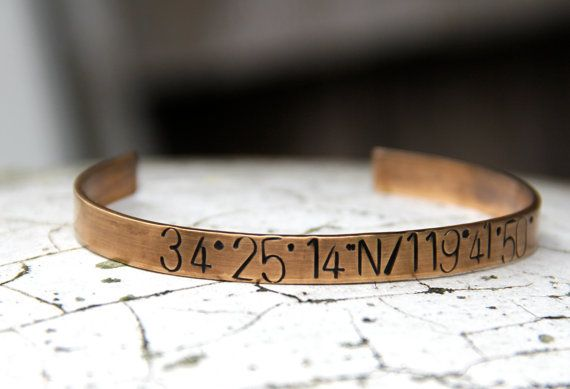 Custom Stamped Cuff Bracelet in Bronze or Aluminum - Personalized with Coordinates for your special location. Great for Wedding gifts!