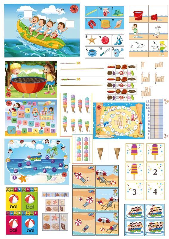 Spellenpakket zomer van juf Petra van kleuteridee, 10 zomerspelen met 20 spelmogelijkheden voor een hele zomer speel- leerplezier,kleuteruniversiteit .