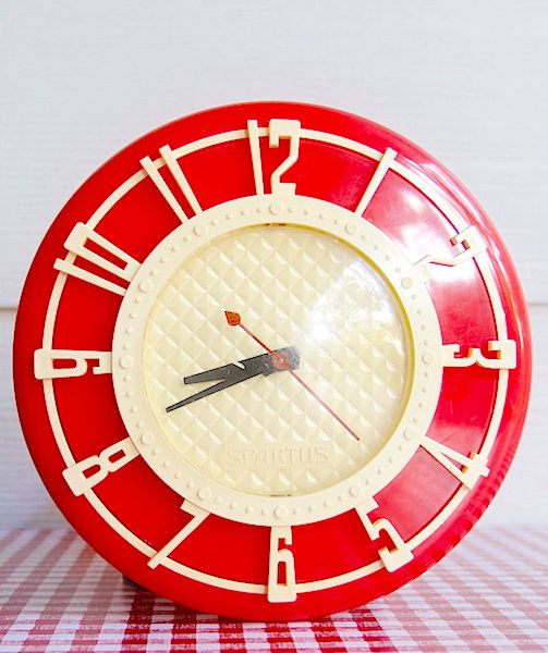 Red and cream vintage wall clock - just like the one we had at home ...... sigh
