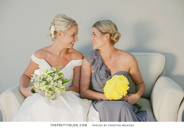 Andy & Nikki decided on neutral grey bridesmaids dresses to complement their Cheerful Celebration with yellow colour scheme. Bridesmaids dress from Bride&co. Click to see the whole real wedding on The Pretty Blog