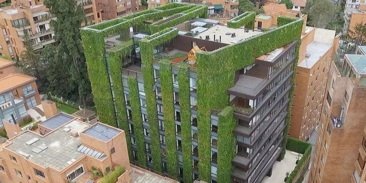The Santalaia building, erected by biologist and botanist Ignacio Solano and vertical garden and green-roof firm Groncol, the multi-family residential building features of 3,117 square meters (33,551 sq ft) of plants. The building is nine stories above ground and two stories underground and was completed in 2015 after 16 months of planning and construction. About 115,000 plants of 10 different species were used, which Groncol says helps reduce urban heat island effect and produces oxygen for…
