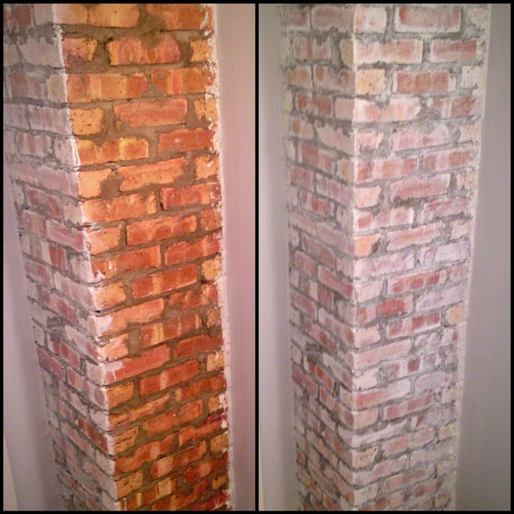 Whitewashed Brick Old Exposed Chimney In Bathroom 1 Wire Brush Surface 2 Mix 50 50 Paint And