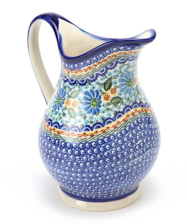 Take a look at this Navy & Blue Floral K Pitcher by Lidia's Polish Pottery on #zulily today!