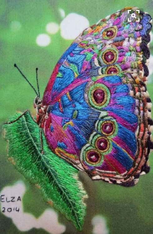 Embroidery - butterfly on a leaf