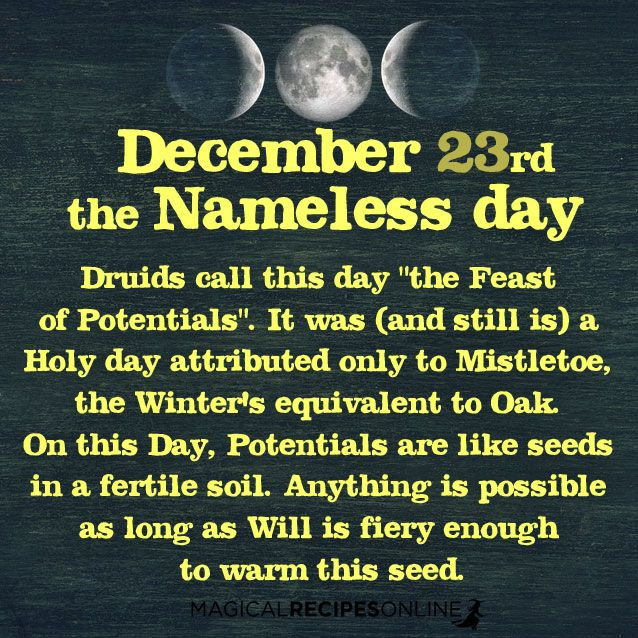 December 23rd Pagan Holy Day: Nameless Day