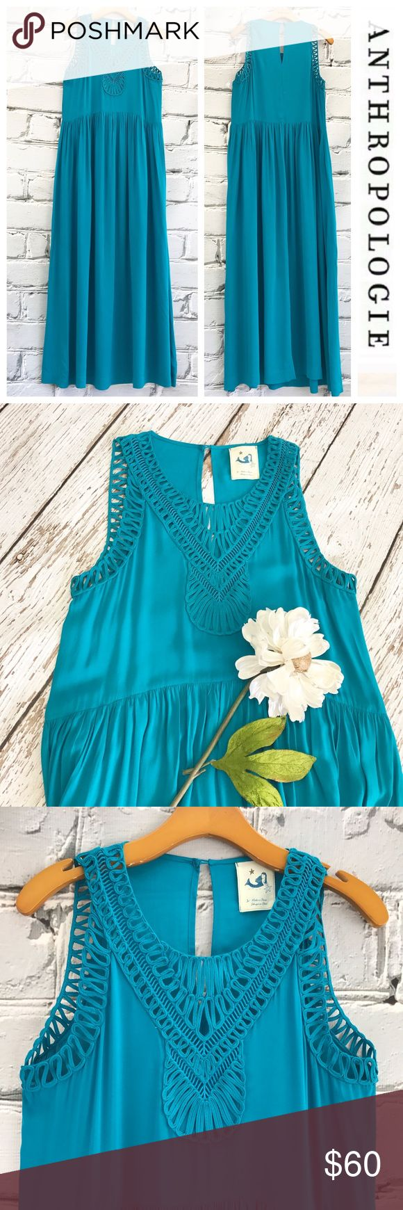 """💕SALE💕 Anthropologie Blue Maxi Dress Gorgeous 💕 Anthropologie Blue Maxi Dress with Pockets 59"""" from the top of the shoulder to the bottom 19"""" from armpit to armpit 100% Rayon. Super Soft and Gorgeous Color Anthropologie Dresses Maxi"""
