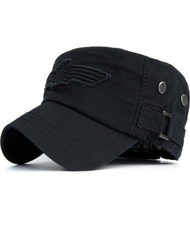 Unisex Lightweight Cotton Linen Army Caps for Adults Flat Caps-Navy