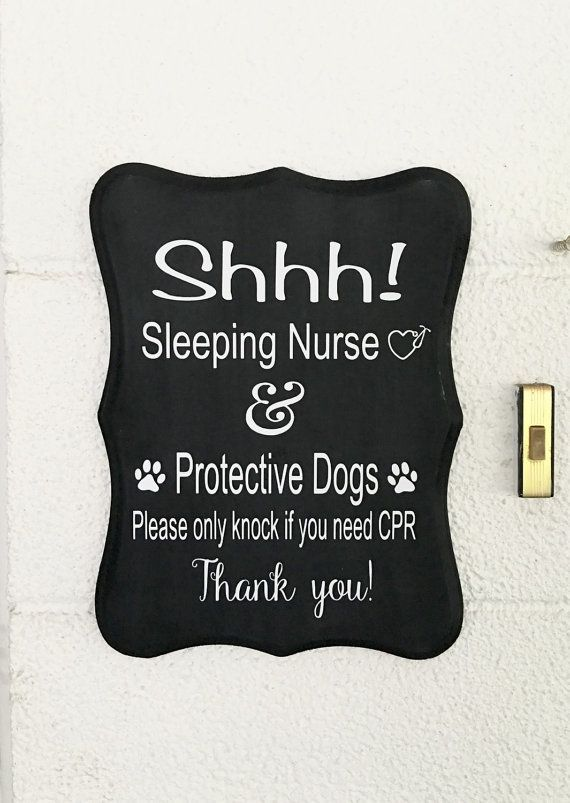 Handmade Sleeping Nurse Front Door Sign  Do Not by WoodWorxDesigns