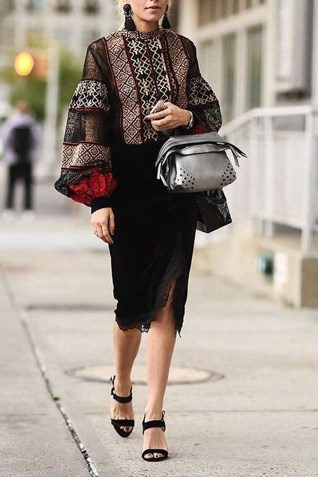 Try a midi-skirt for Fall!  Loving this black lace skirt with this printed top with big sleeves.. obsessed! Ahead, shop our favorite categories of the reliably chic staple.