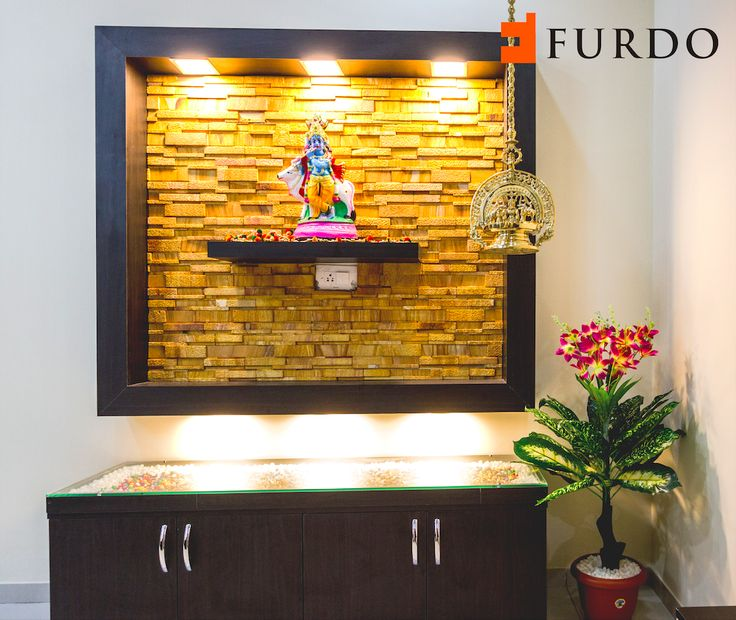 Stone Cladded Foyer With Hindu Idol By Furdo