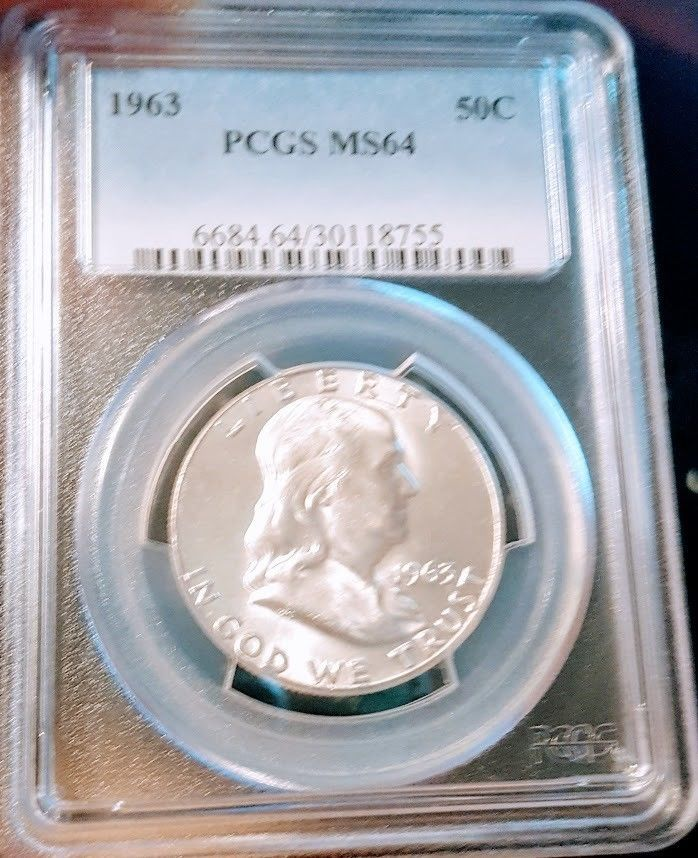 1963 Silver Franklin Half Dollar Coin Uncirculated Pcgs Ms64 Saint