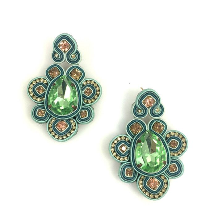 Green Amapola Earrings