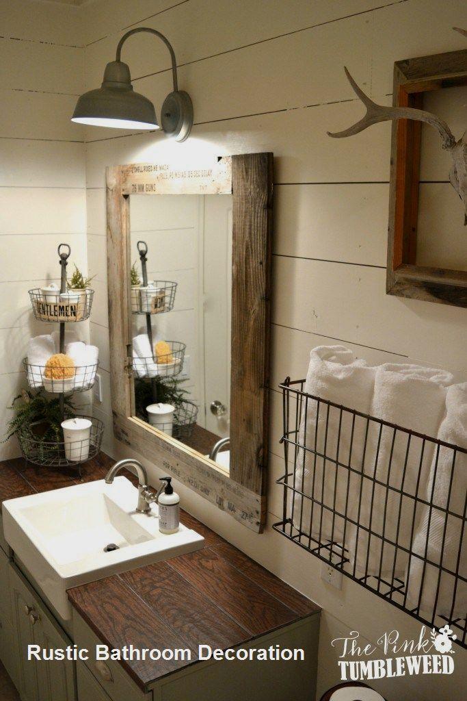New Rustic Bathroom Decoration In 2020 Cabin Bathroom Decor Bathroom Farmhouse Style Farmhouse Bathroom Decor