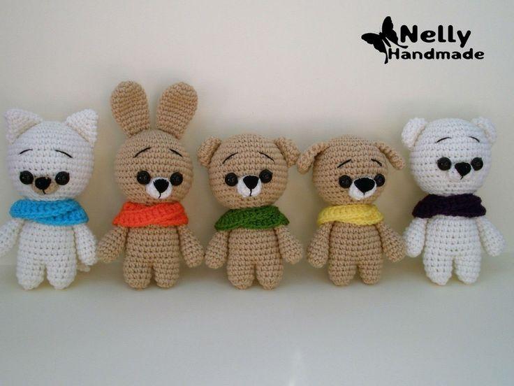 Вязаные малыши - мишка, зайка и котик - связаны на основе одного описания от Nelly Handmade .